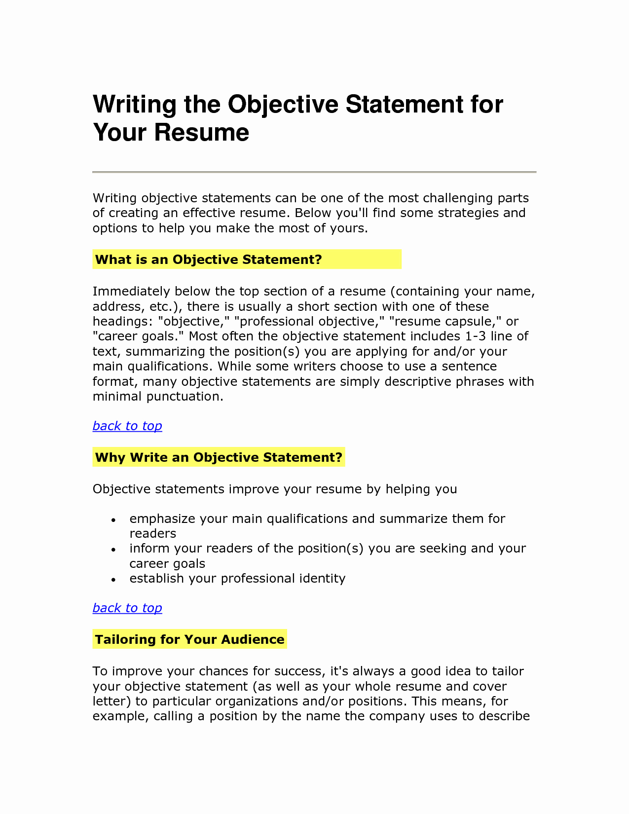 resume objective statement 2603
