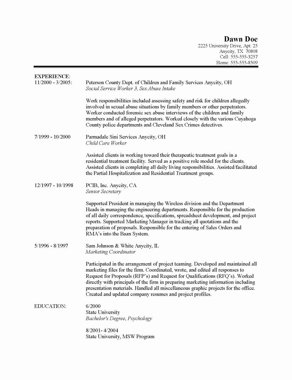 Resume Objectives for social Work Cover Letter Samples
