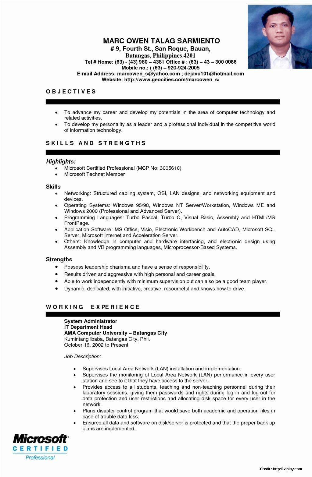 Resume Ojt Puter Technician Resume Resume Examples
