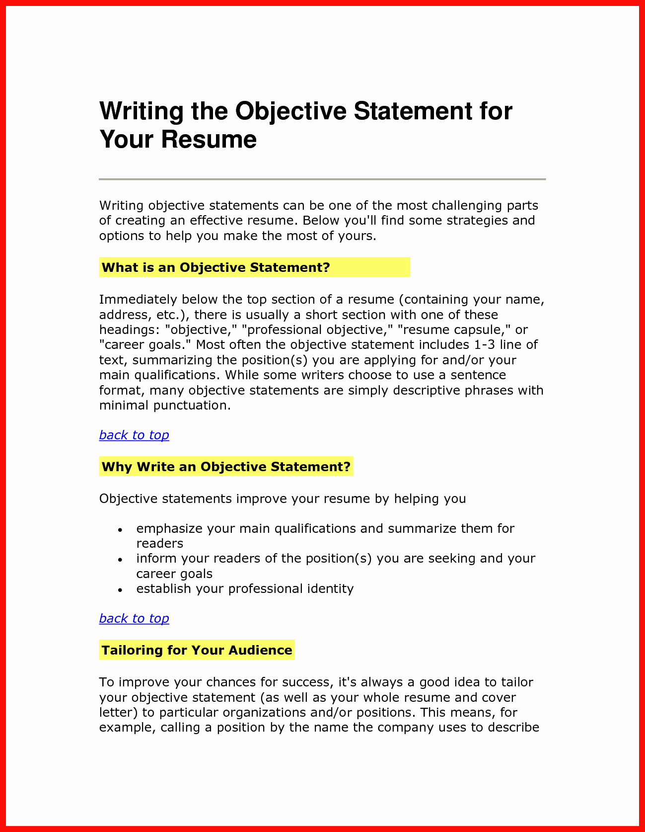 Resume Opening Statement
