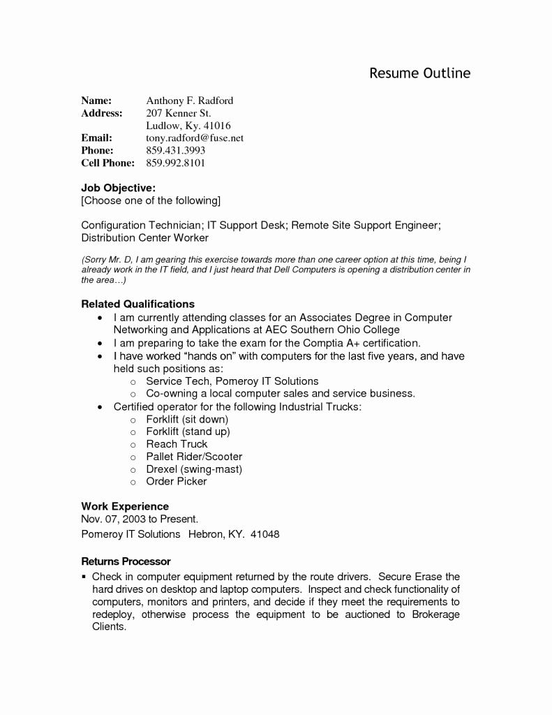 Resume Outline Resume Cv Example Template