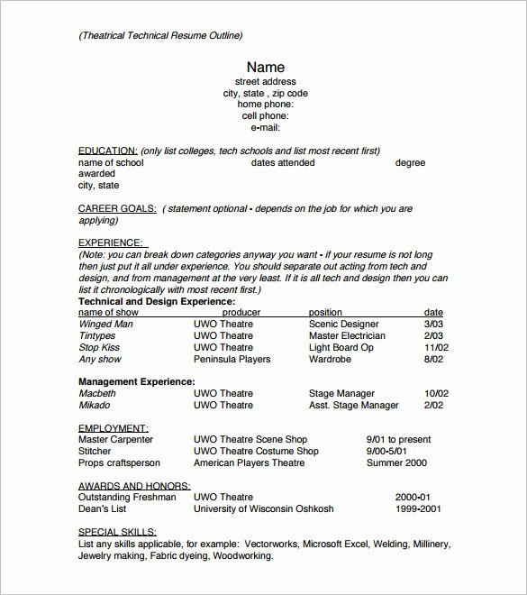 Resume Outline Template 12 Free Sample Example format