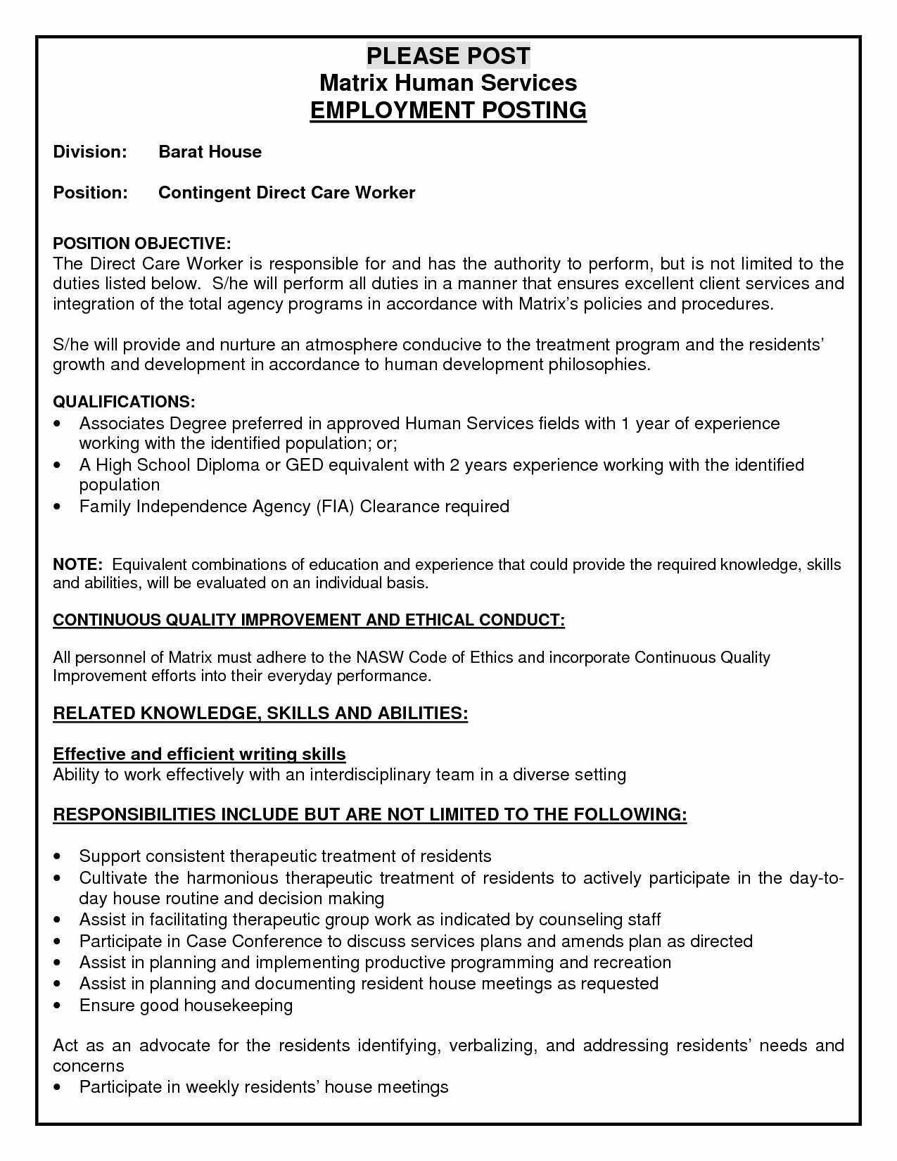 Resume Personal Care assistant Job Resume