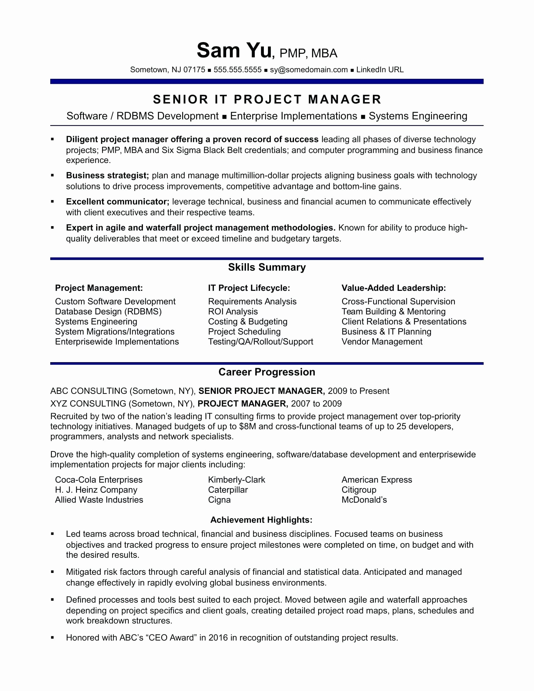 Resume Pmp Resume Sample