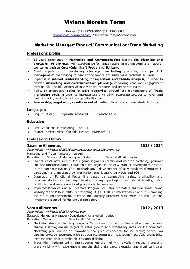 Resume Product Marketing Manager