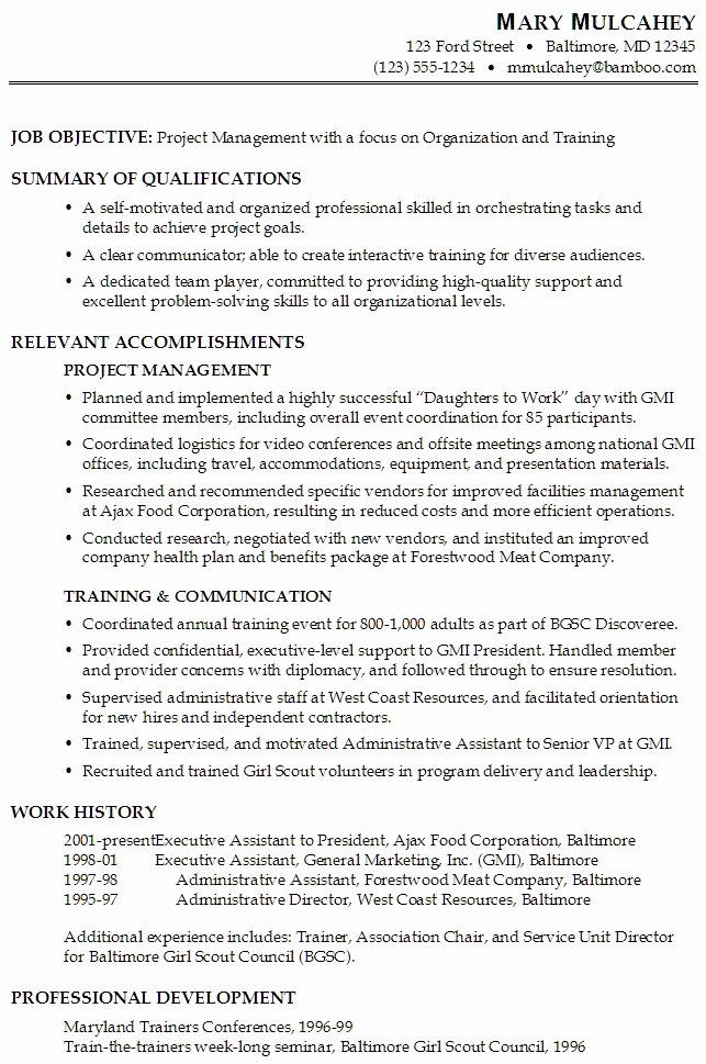 resume professional development section