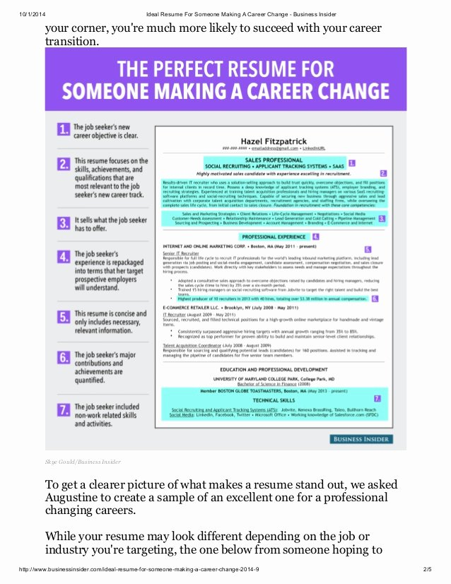 Resume Profile for Career Changer