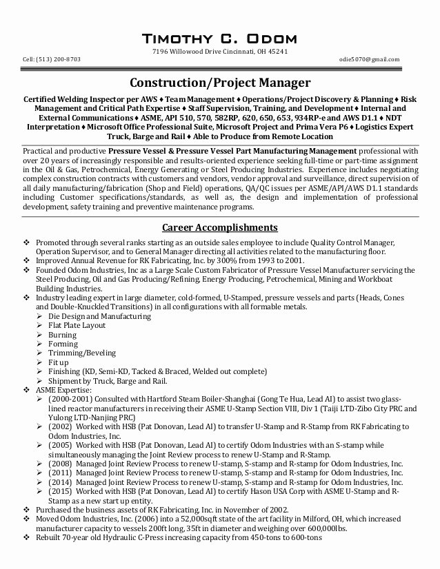 Resume Project Manager Construction Resume Ideas
