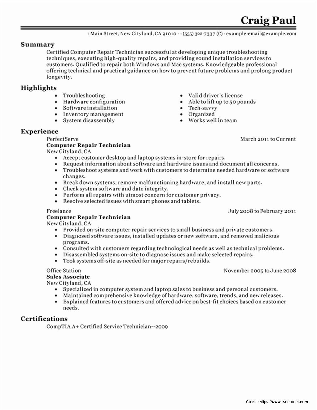 Resume Puter Hardware Technician Resume Resume