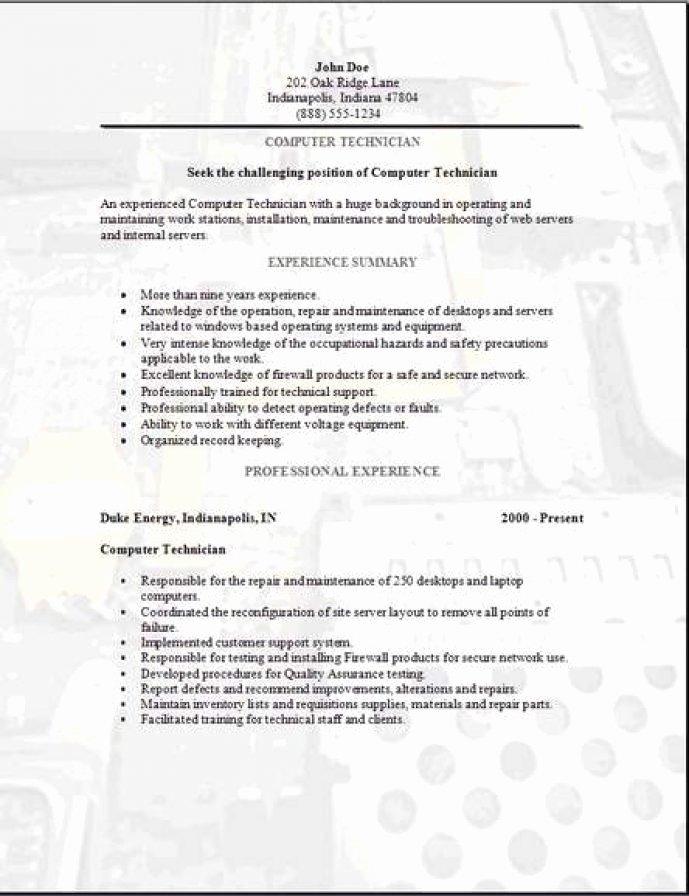 Resume Puter Technician Christiantodayfo