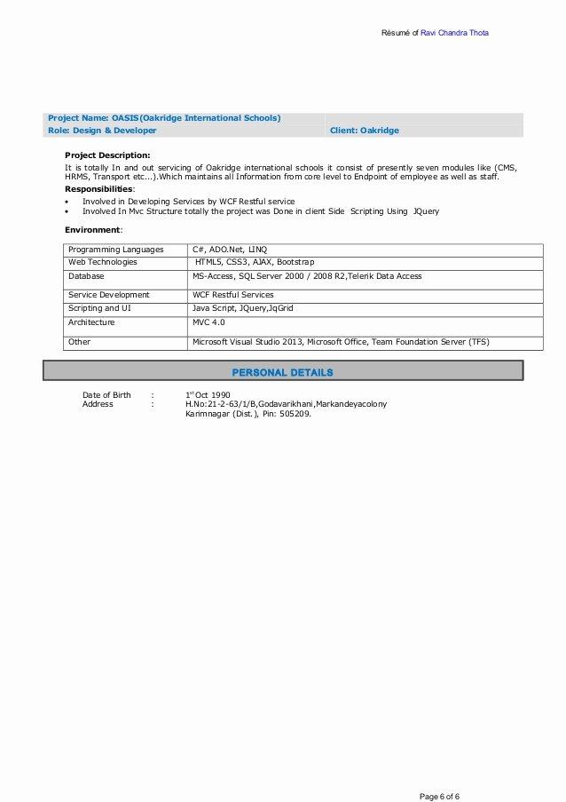 Resume Ravichandra Thota