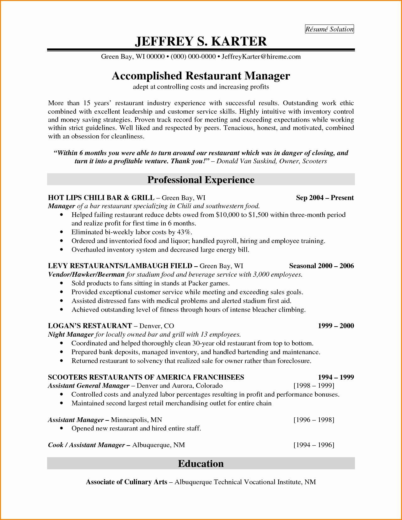 Resume Restaurant Manager Skills Sidemcicek
