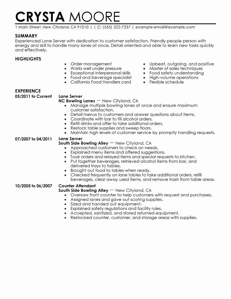 Resume Restaurant Server Experience