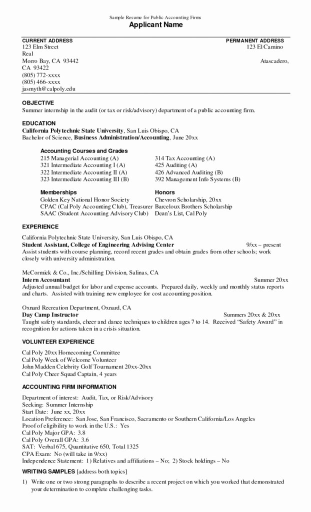 Resume Resume Sample for Internship Objectives