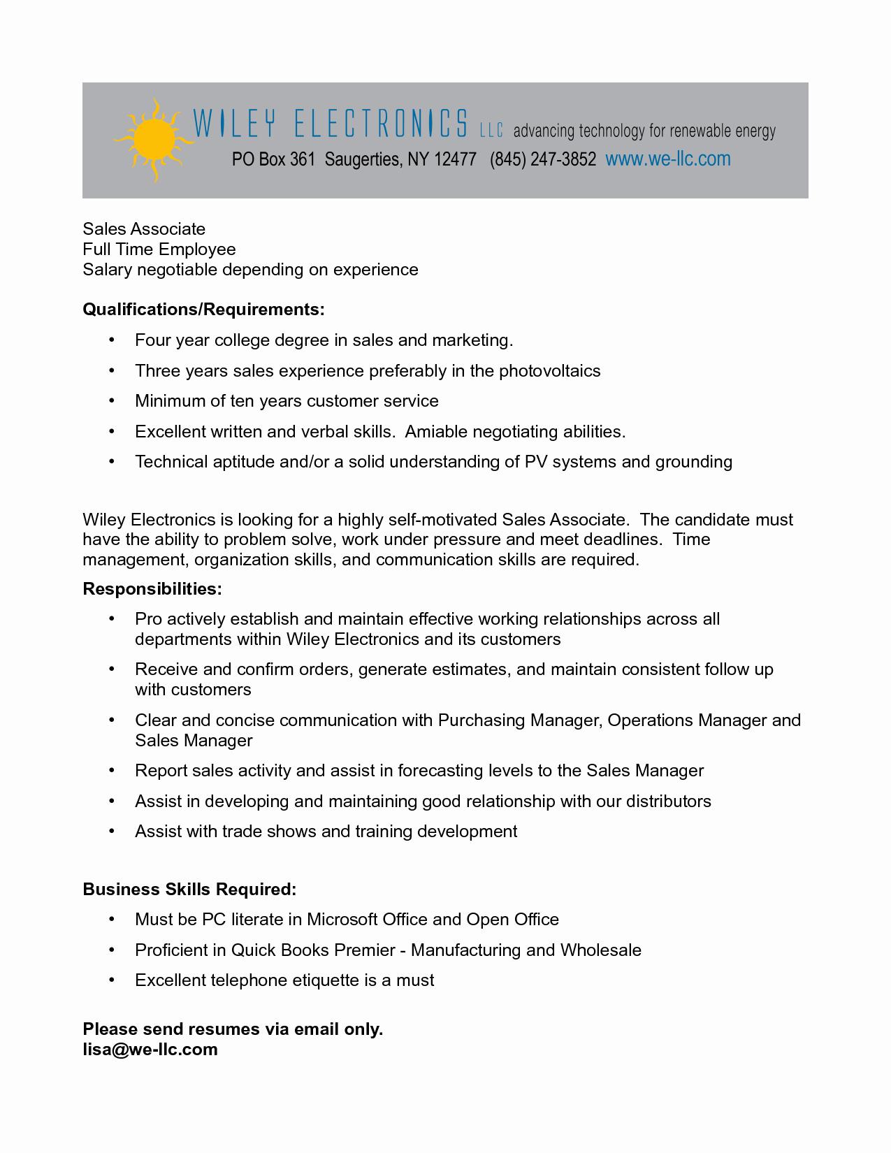 Resume Retail Sales associate Duties