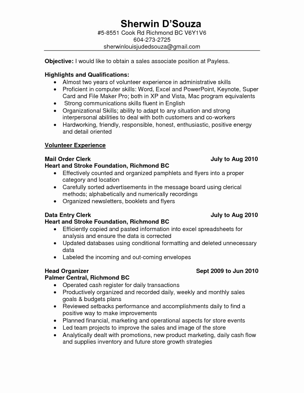 Resume Retail Sales associate Duties assistant Store