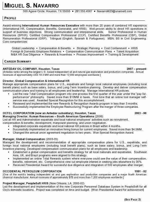Resume Sample 11 International Human Resource Executive