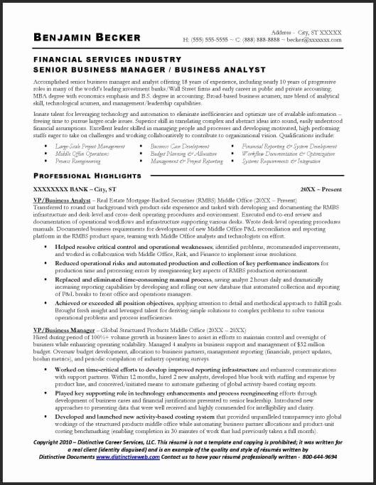 Resume Sample Business Analyst