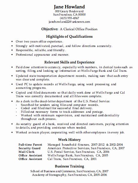 Resume Sample Clerical Fice Work