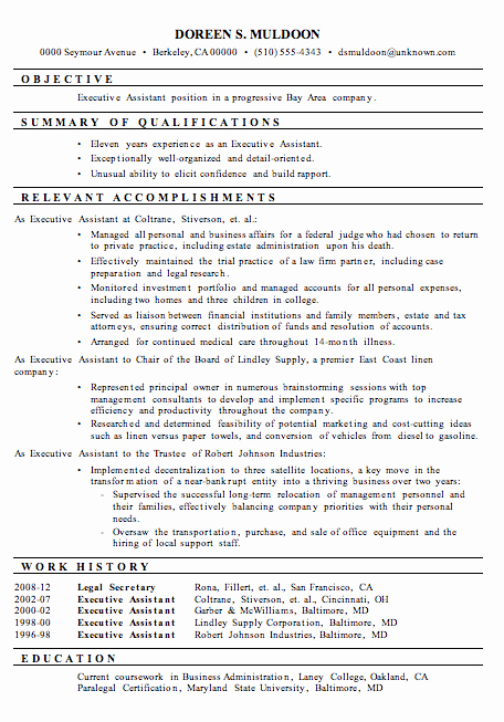 Resume Sample Executive assistant