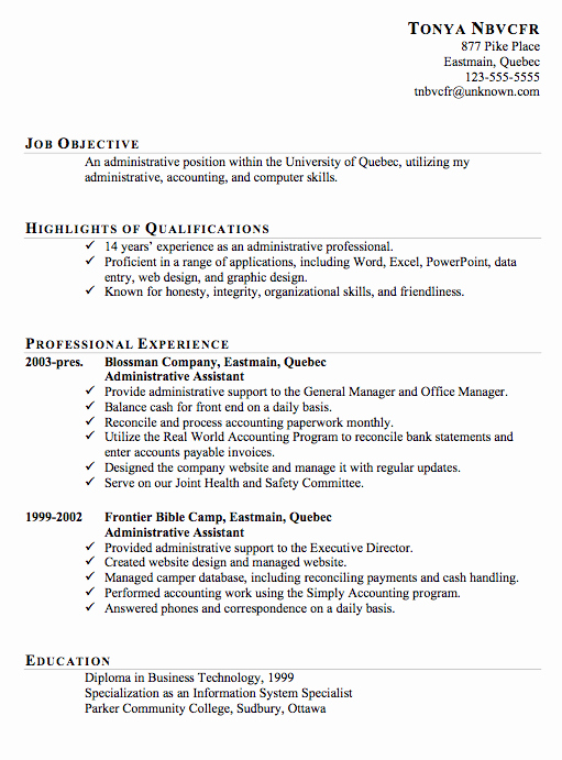 Resume Sample for An Administrative assistant Susan