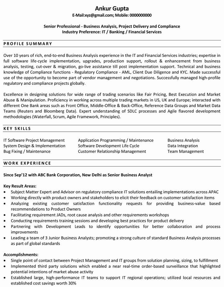 Resume Sample for Business Analyst Best Resume Gallery