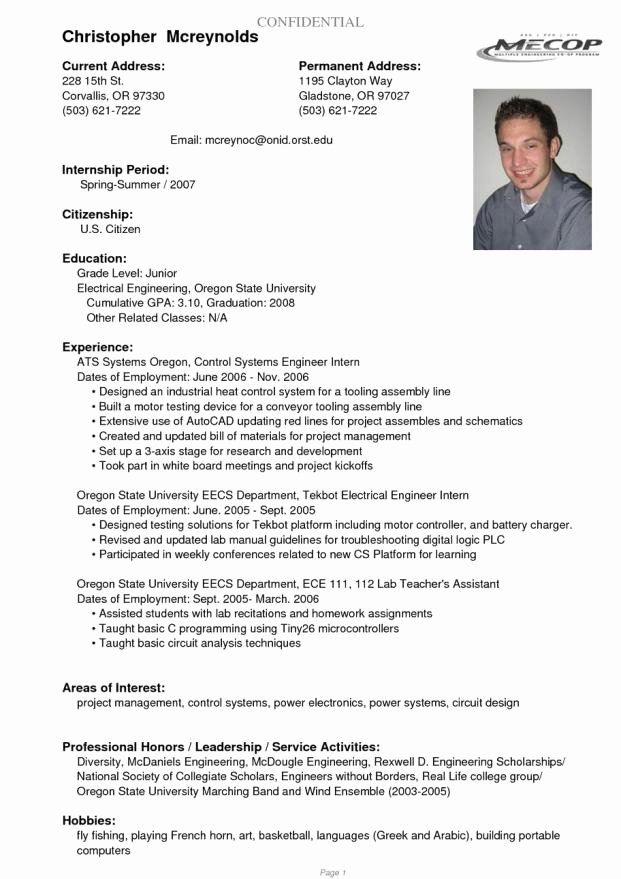 resume sample for college student