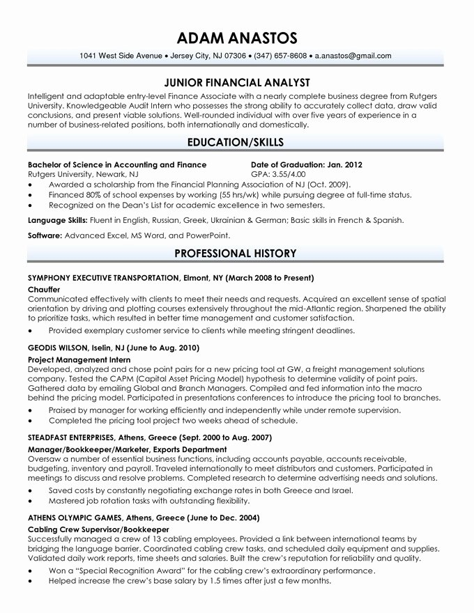 Resume Sample for Fresh Graduate