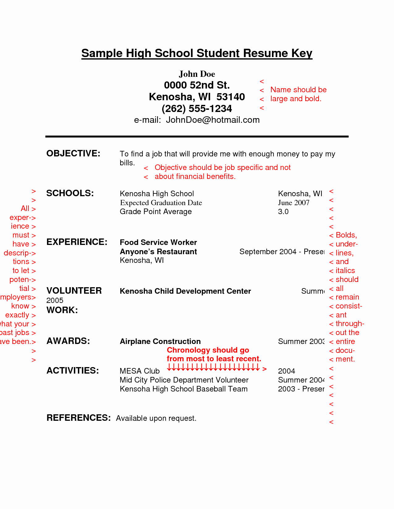 Resume Sample for High School Students with No Experience