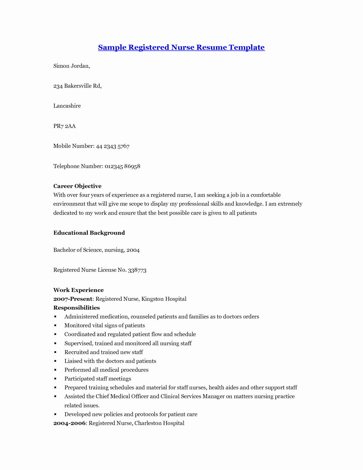 Resume Sample for Nurses without Experience Bongdaao