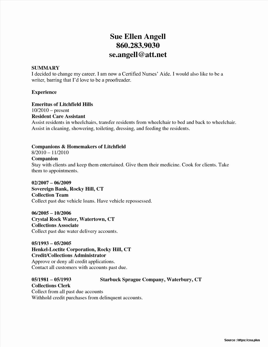 Resume Sample for Nursing Aide Resume Resume Examples