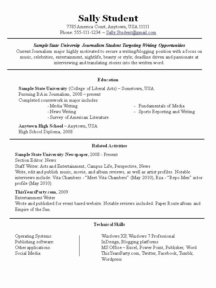 Resume Sample for Part Time Job Student Best Resume