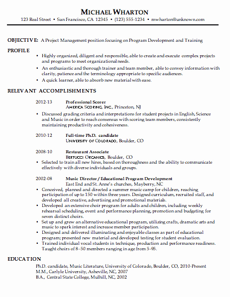 Resume Sample for Project Management Susan Ireland Resumes