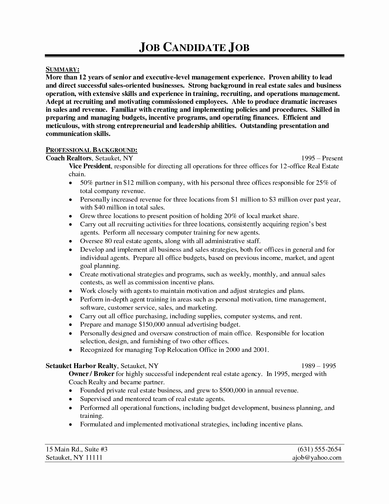 Resume Sample for Real Estate Agent Resume Ideas