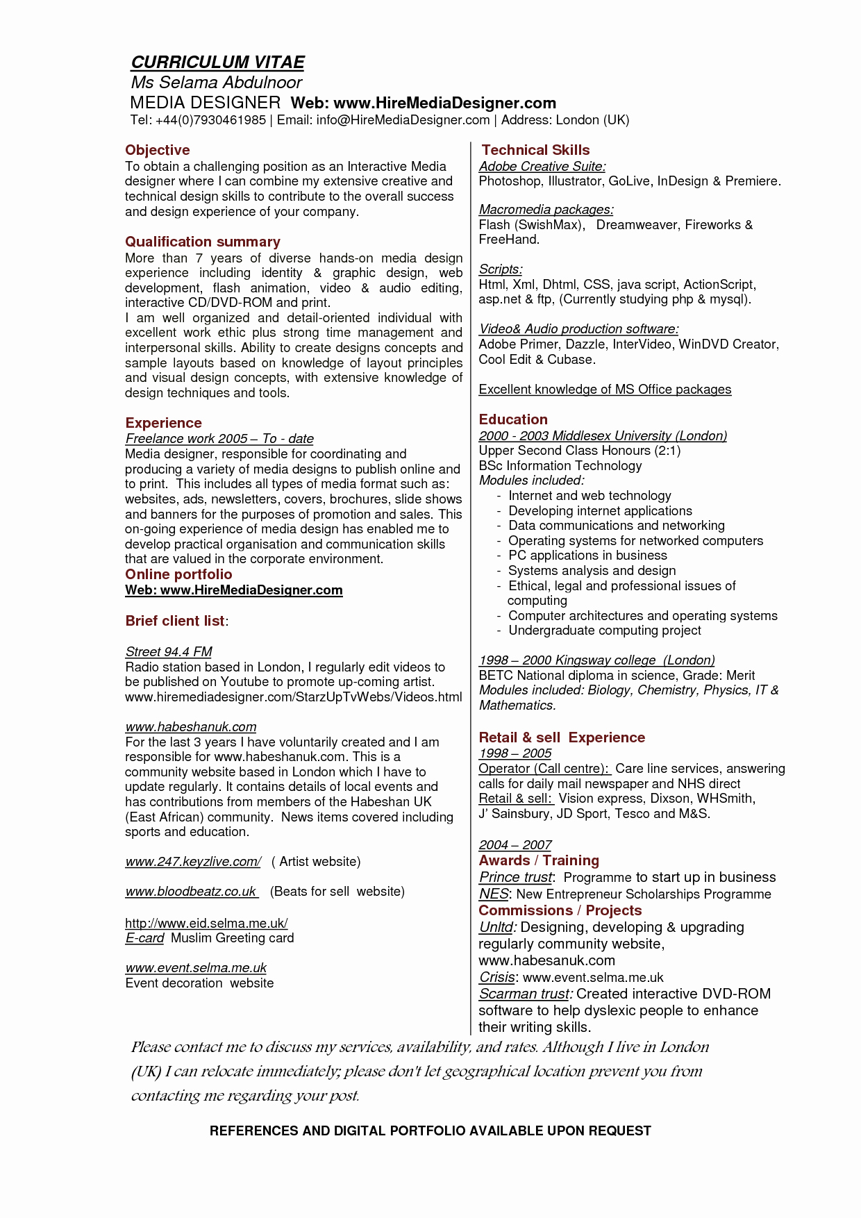 Resume Sample Graphic Design Portfolio Designer Job