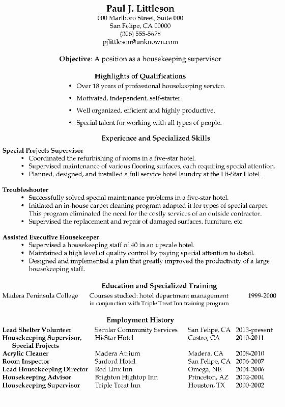 Resume Sample Housekeeping Supervisor