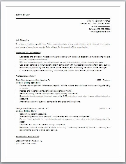 Resume Sample Medical Billing Coding original