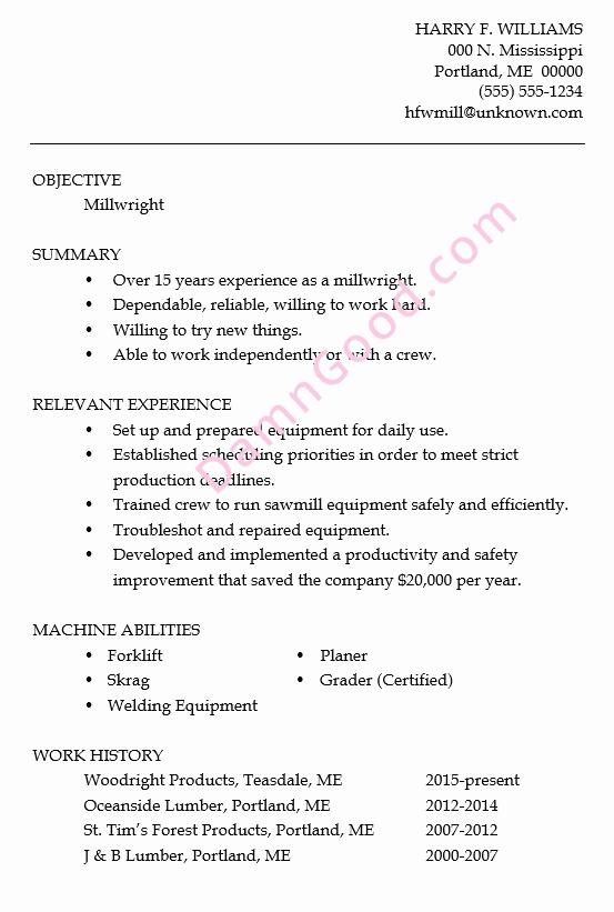 Resume Sample Millwright Damn Good Resume Guide