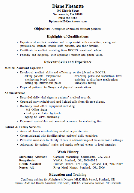 Resume Sample Receptionist or Medical assistant