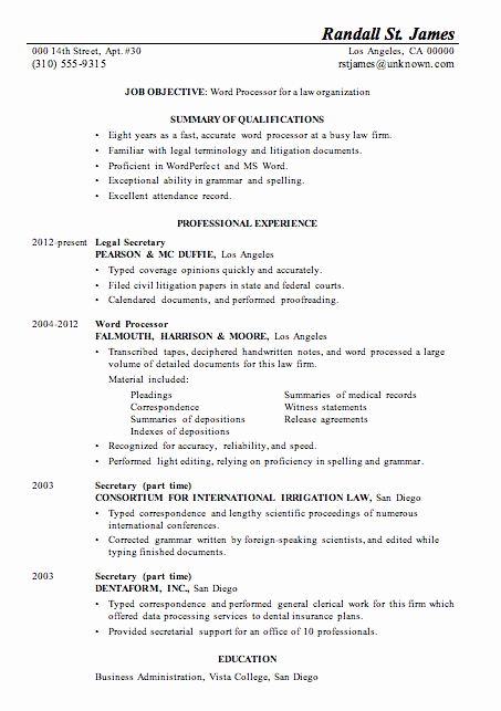 Resume Sample Word Processor for Law Firsm