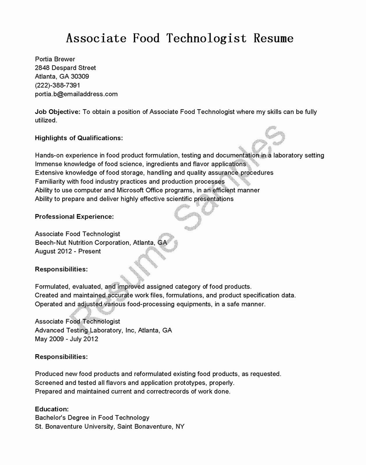 Resume Samples associate Food Technologist Resume Sample