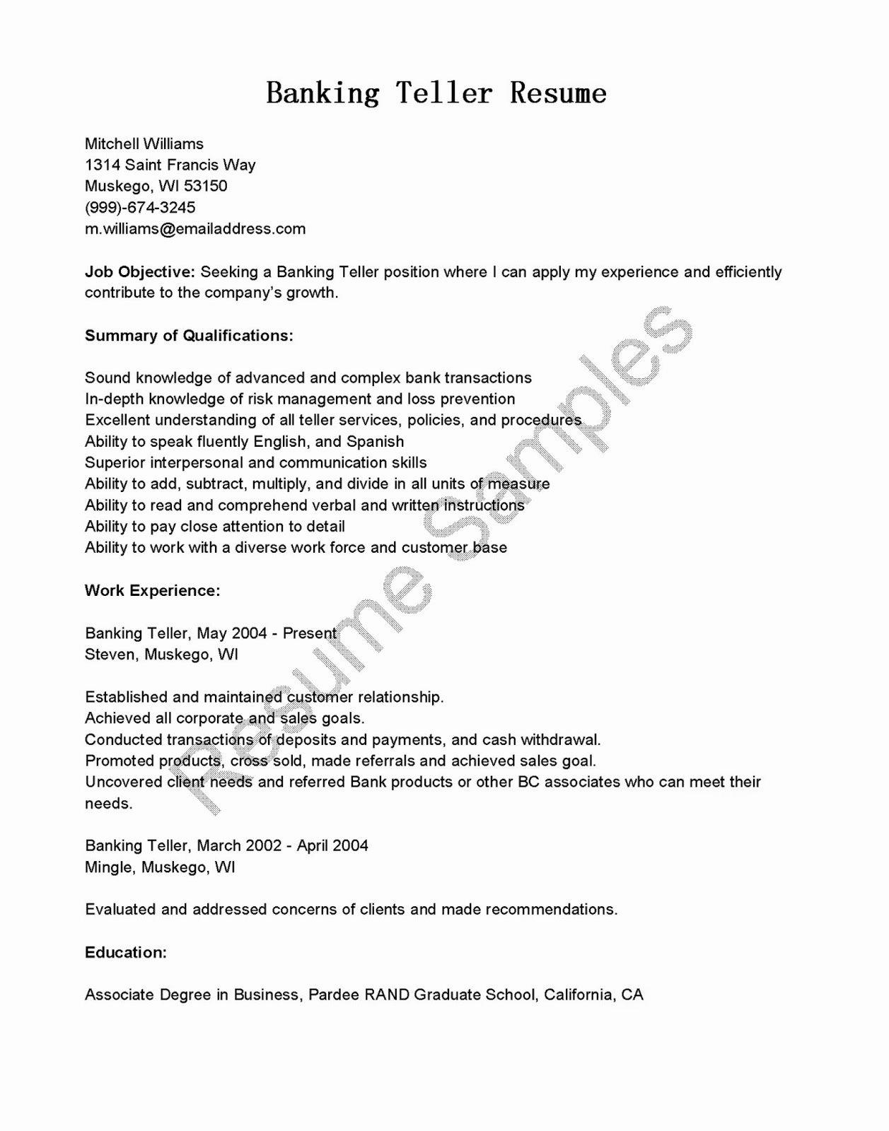 Resume Samples Banking Teller Resume Sample