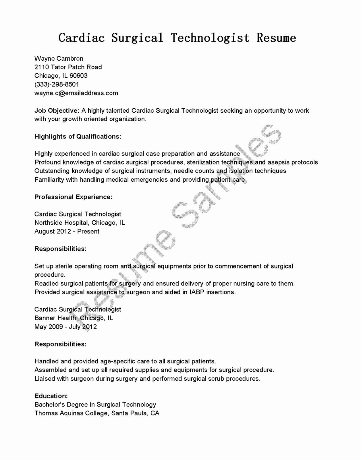 Resume Samples Cardiac Surgical Technologist Resume Sample