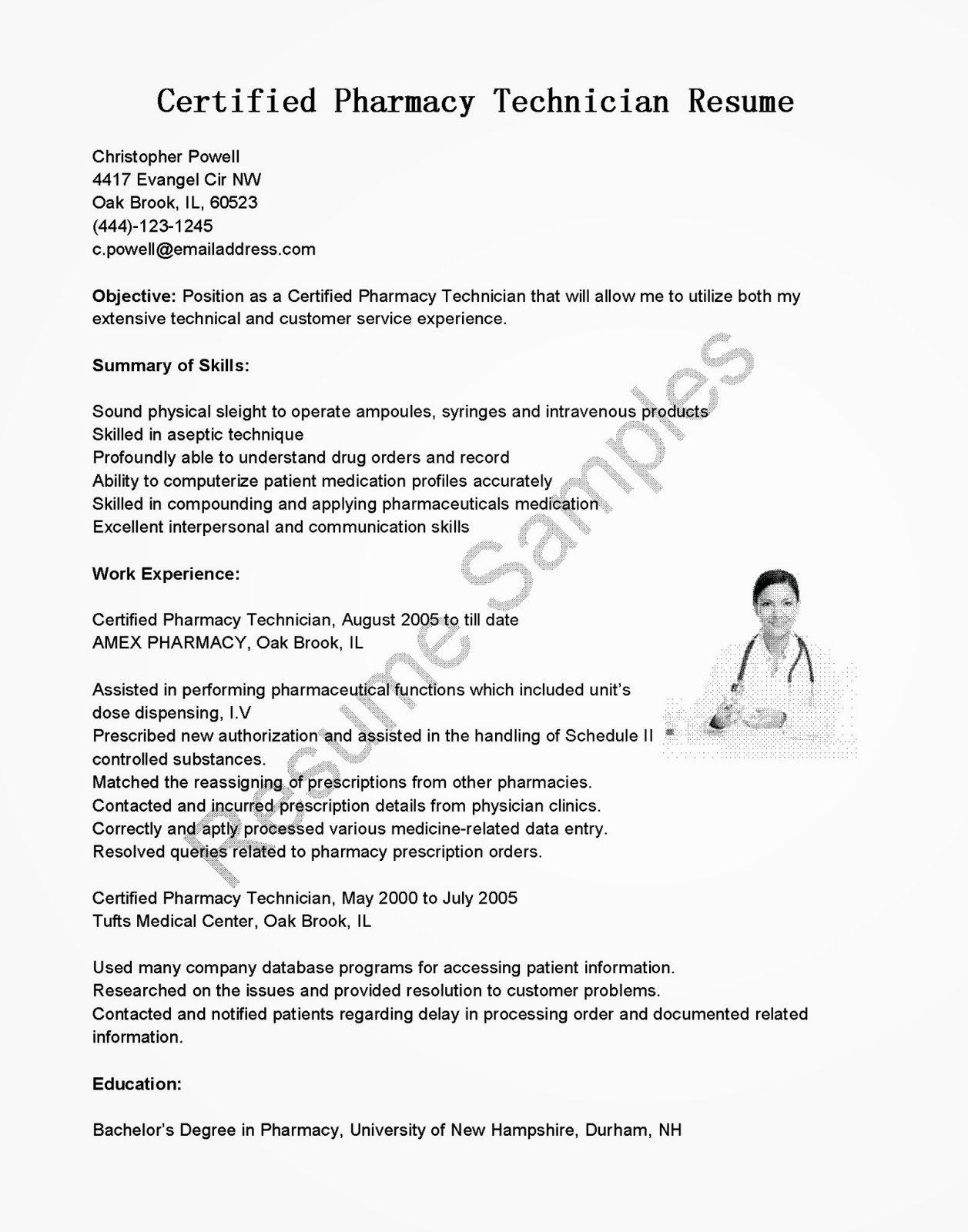 Resume Samples Certified Pharmacy Technician Resume Sample