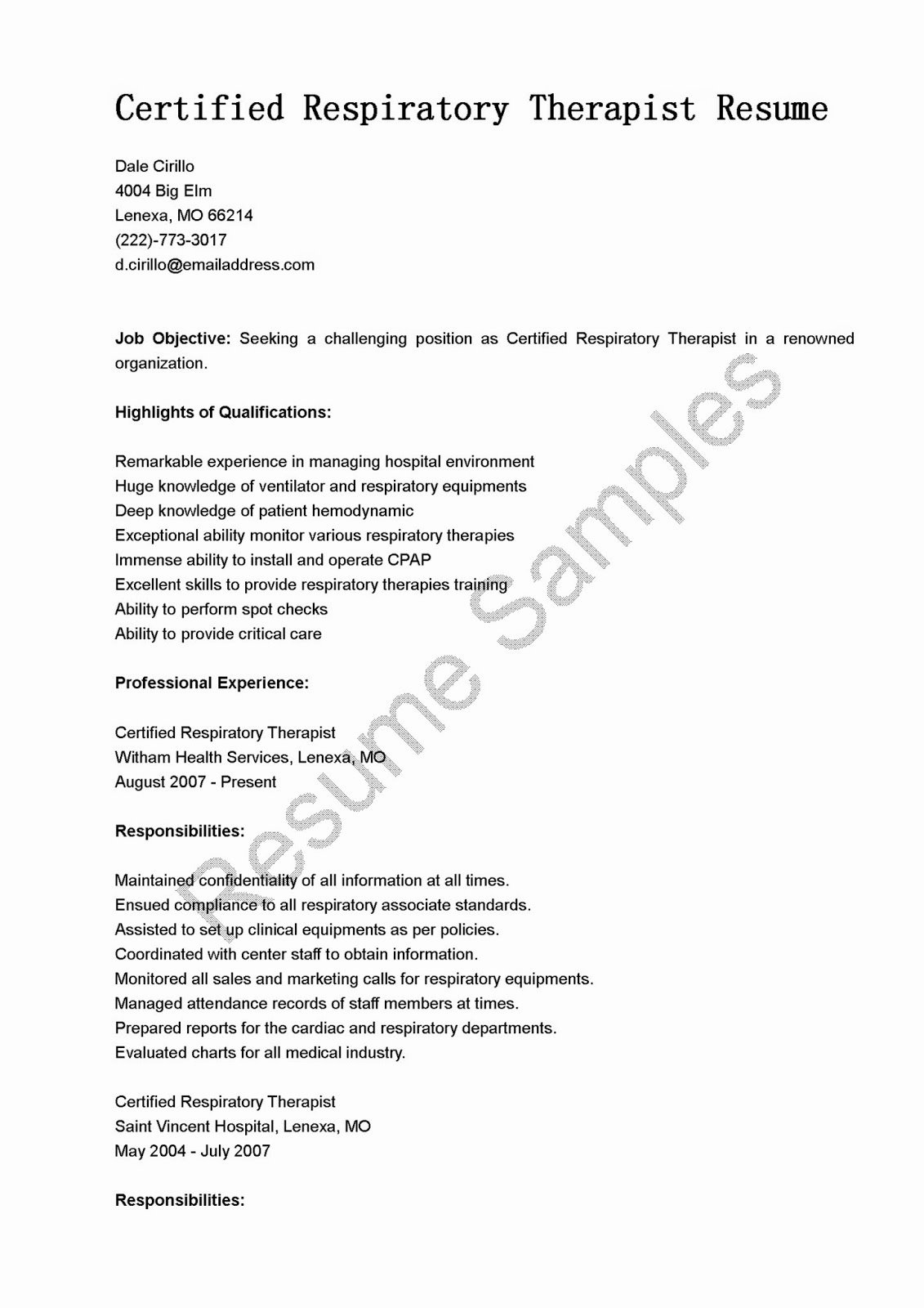 Resume Samples Certified Respiratory therapist Resume Sample