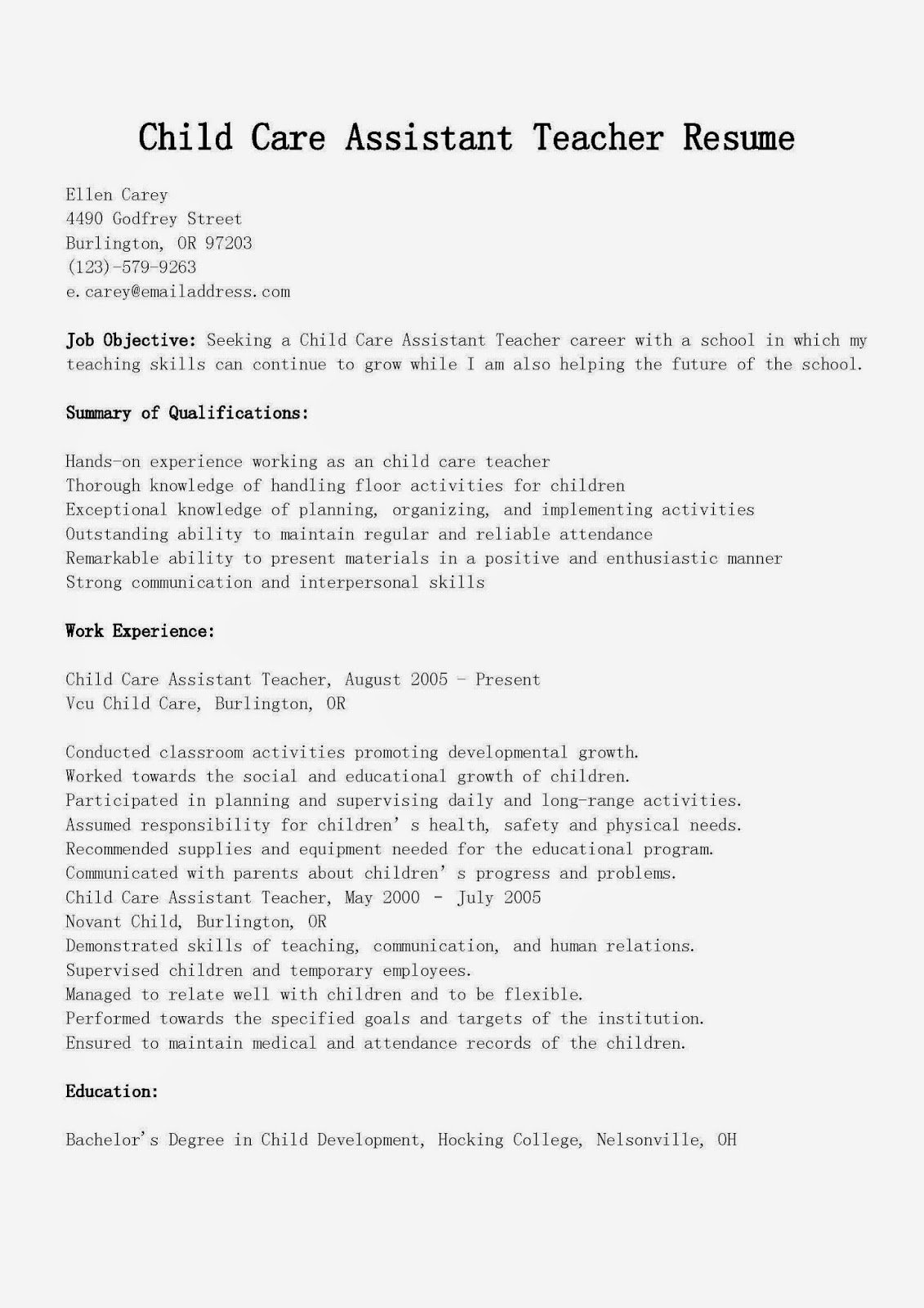 Resume Samples Child Care assistant Teacher Resume Sample