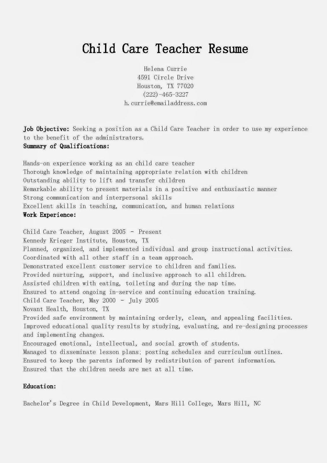 Resume Samples Child Care Teacher Resume Sample