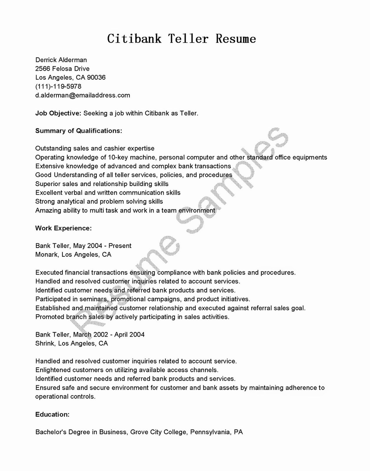 Resume Samples Citibank Teller Resume Sample
