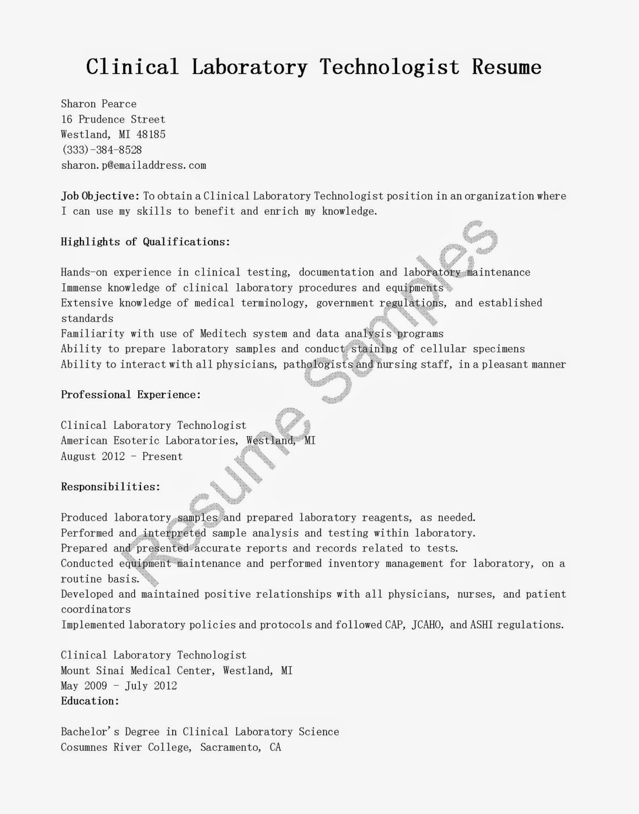 Resume Samples Clinical Laboratory Technologist Resume Sample