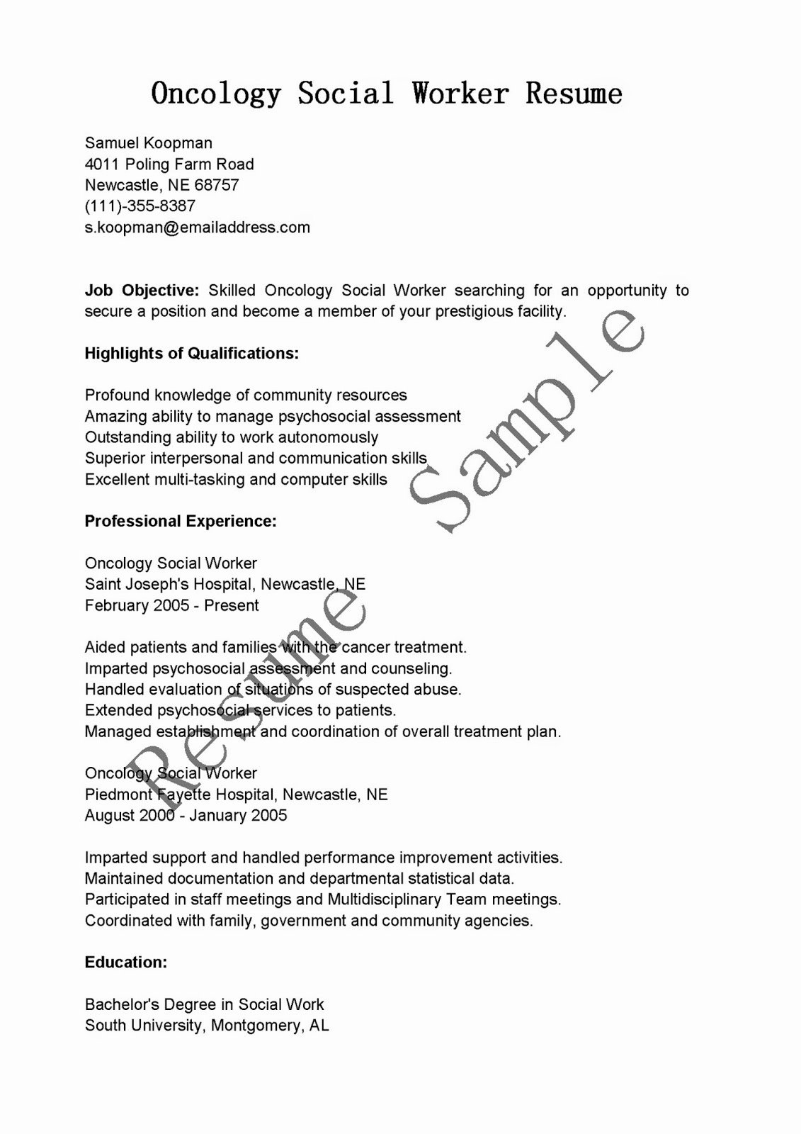 Resume Samples Cology social Worker Resume Sample
